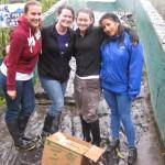 foto de voluntarios y veterinaria realizando enriquecimiento ambiental