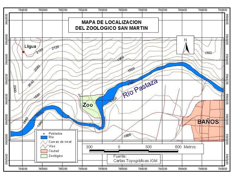 zoologico de banos mapa